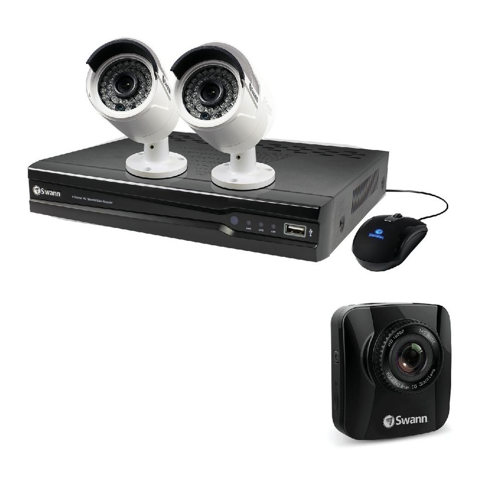 Swann 4 Channel 2 Camera NVR CCTV Kit + Free Dash Cam SWN800001