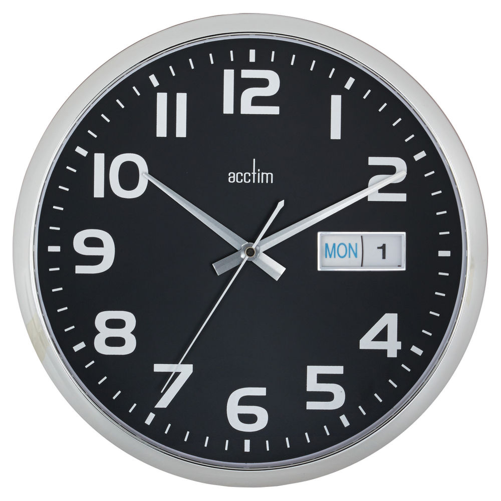 Acctim Supervisor Chrome and Black Wall Clock - 21023