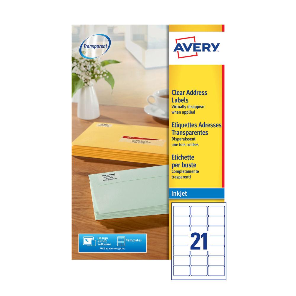 avery clear inkjet address labels 63 5 x 38 1mm pack of 525 j8560 25