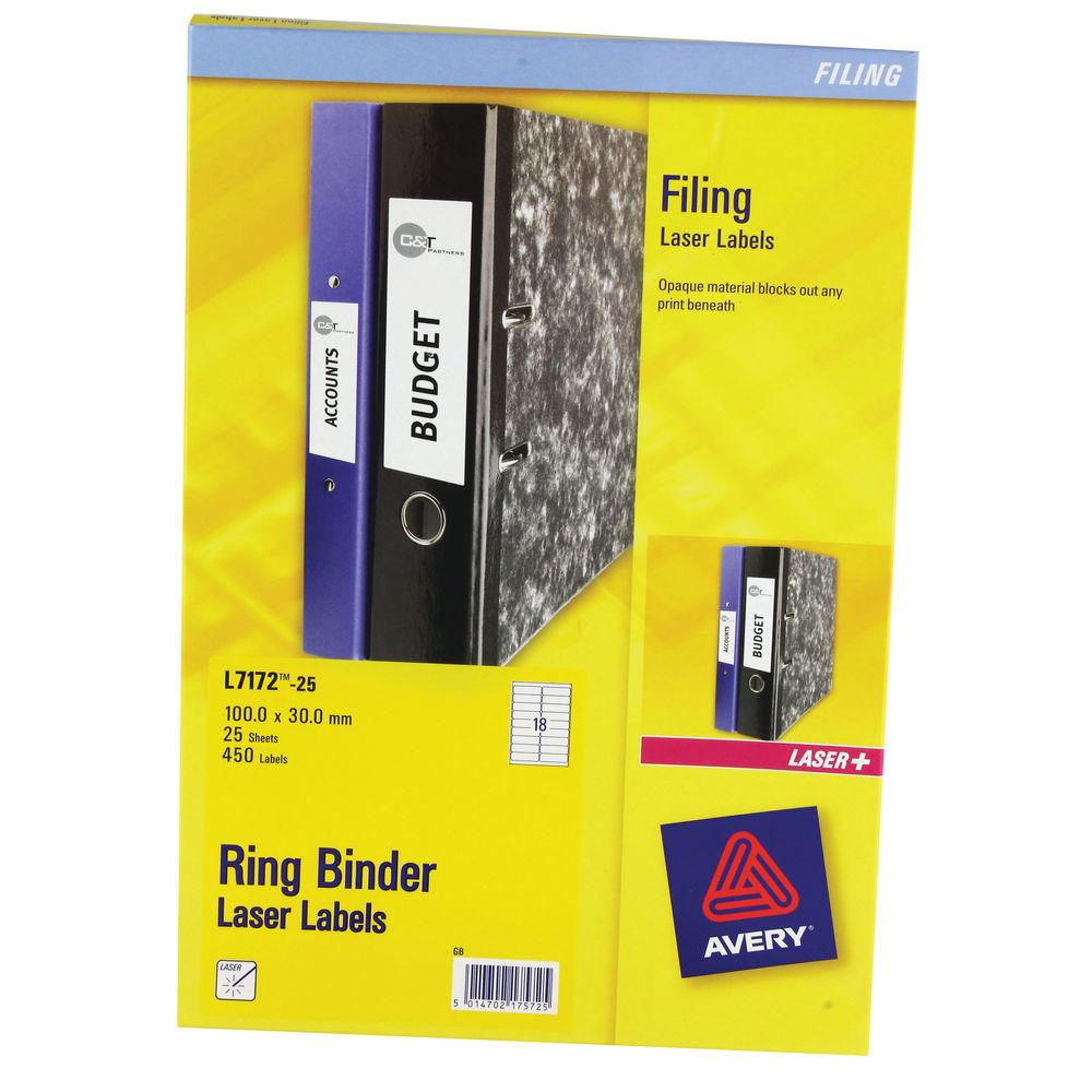 Avery White Filing Ring Binder Labels 100 X 30mm White