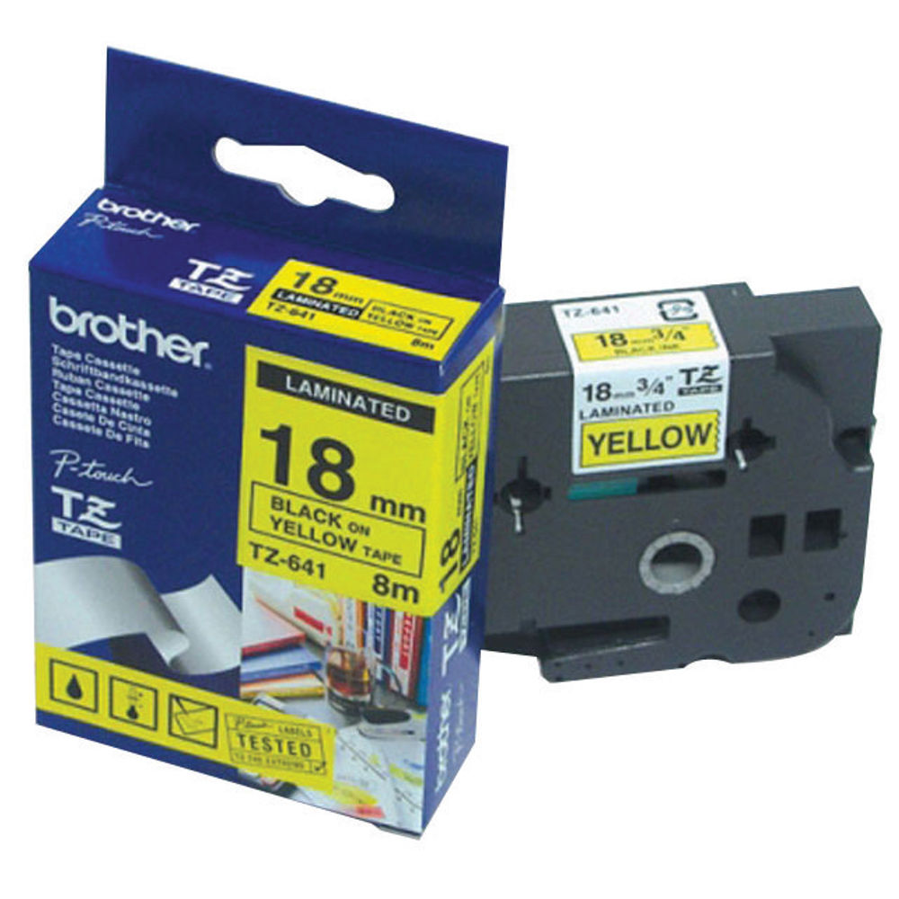 Brother 18mm x 8m Black on Yellow TZe Labelling Tape - TZE641