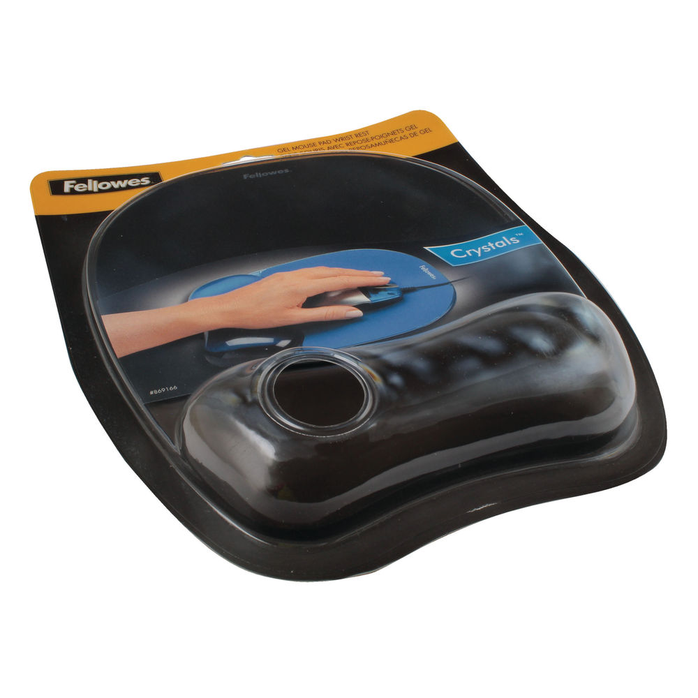 Fellowes Black Crystal Gel Mouse Mat - 9112101