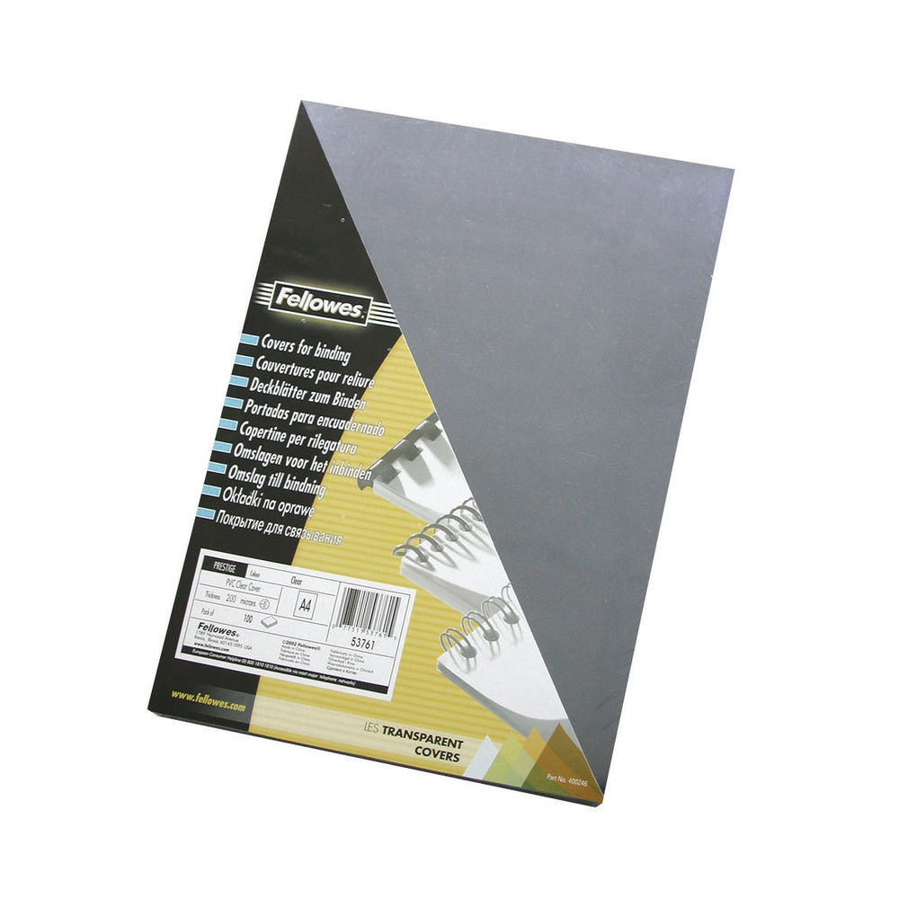 Fellowes Transparent A4 PVC Binding Covers 240 Micron, Pack of 100 - BB53762