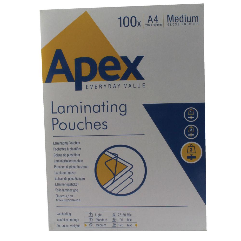 Fellowes Apex A4 Medium Duty Laminating Pouches, Pack of 100 - BB58488