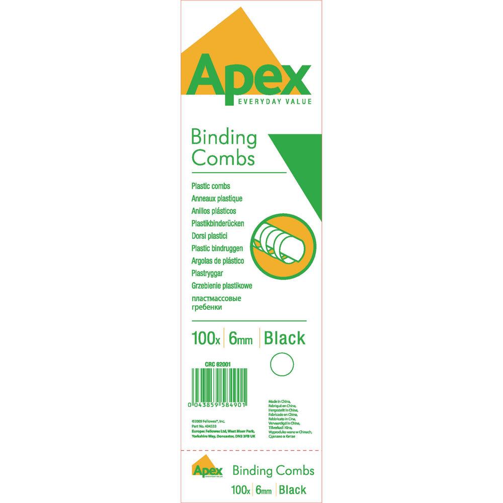 Fellowes Apex Black 6mm Plastic Binding Combs, Pack of 100 - 6200102