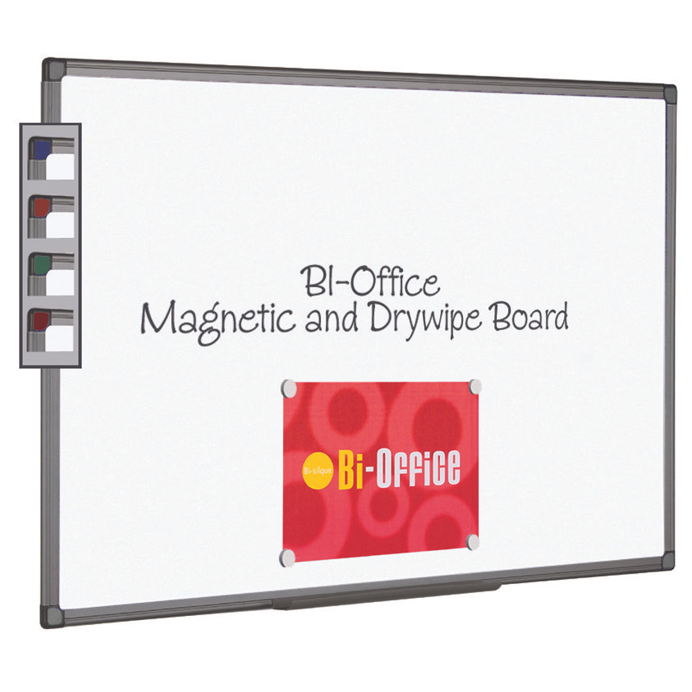 Bi-Office Magnetic Drywipe Whiteboard 900x600mm Aluminium Finish - BQ46618
