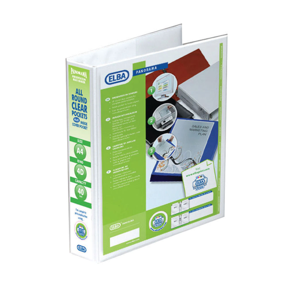 Elba Panorama White A4 4 D-Ring Binder 40mm, Pack of 10 - 128407