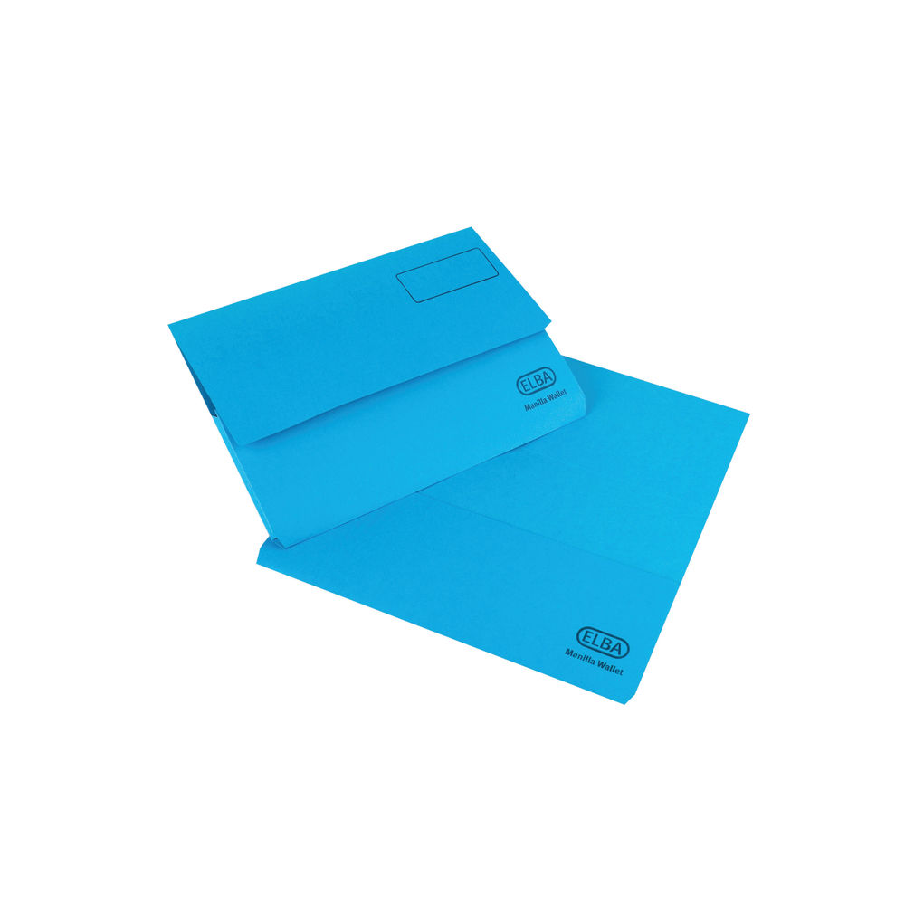Elba Strongline Foolscap Blue 32mm Document Wallets, Pack of 25 - A26613