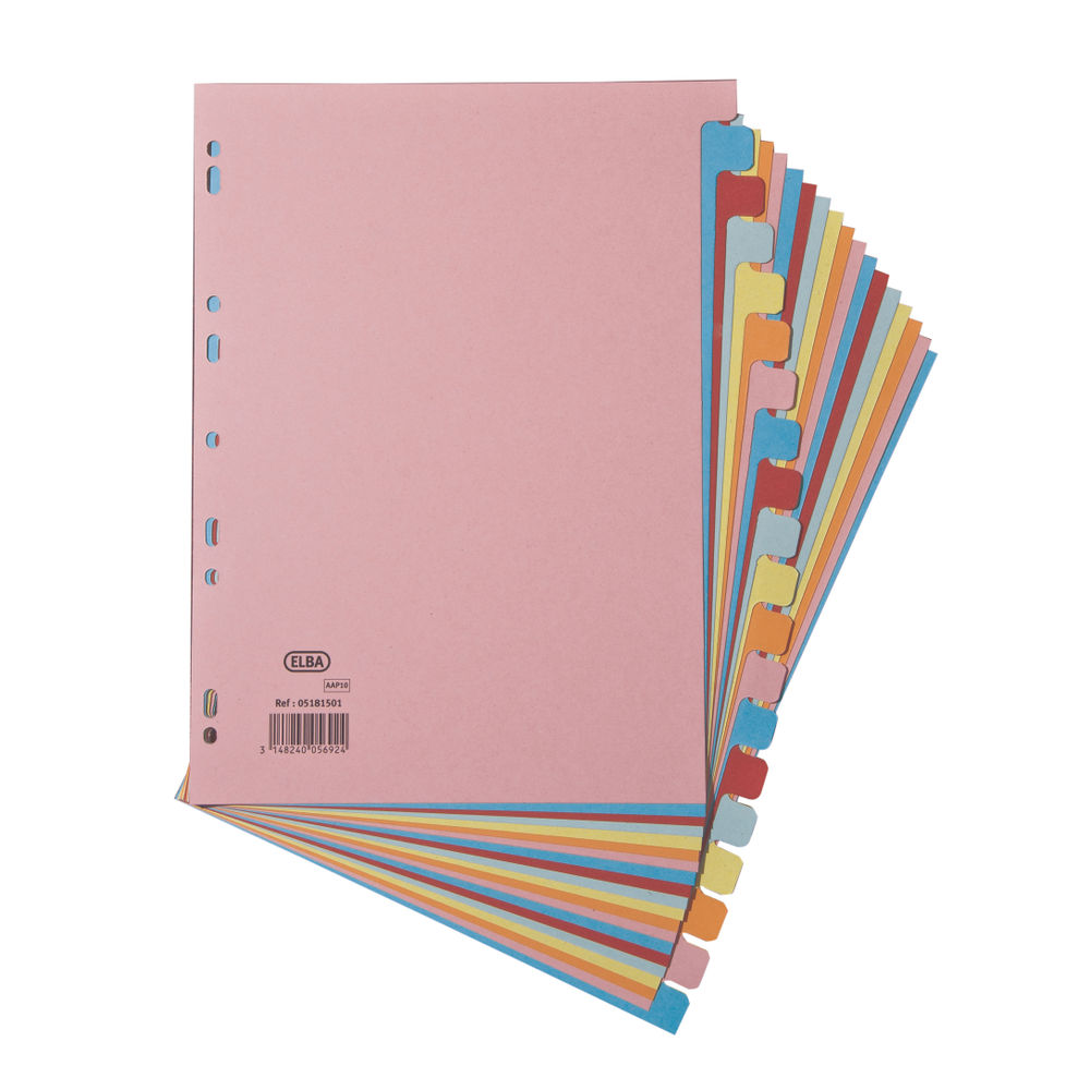 Elba A4 Assorted Colours, Plain Tabs 20 Part Index Dividers 160gsm- 100080775