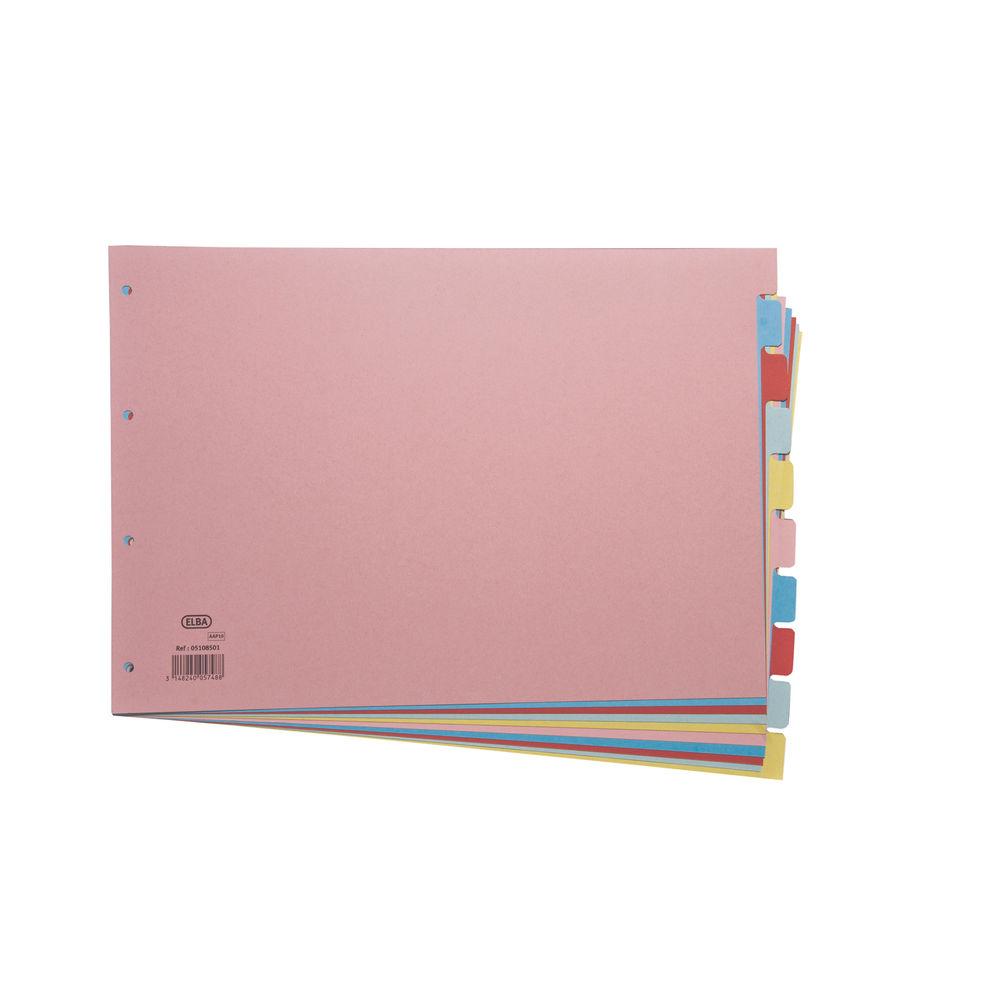 Elba 10 Part Assorted A3 Card Index Divider - 100080772
