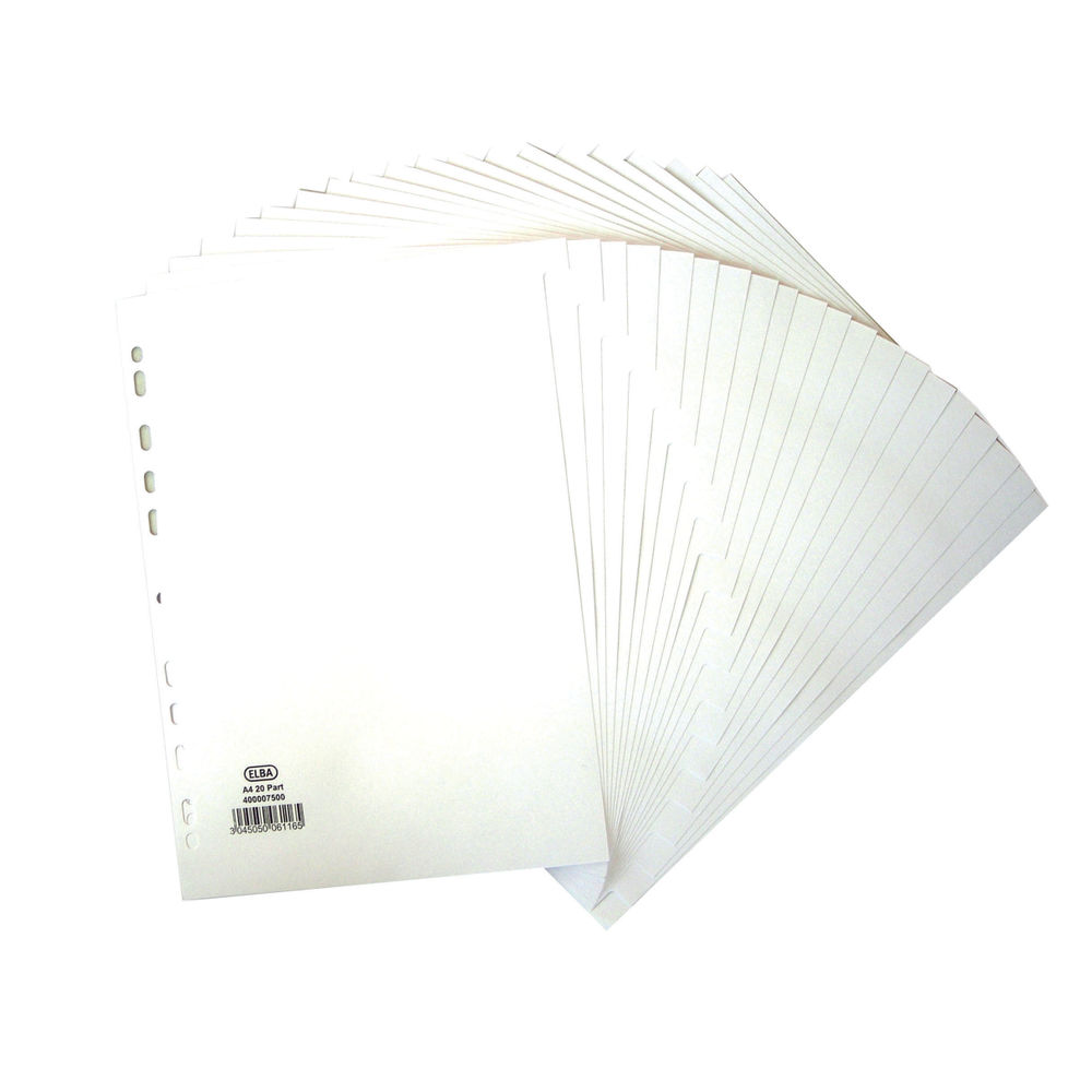 Elba A4 White 20 Part Plain Tabs Index Dividers 160gsm - 400007500