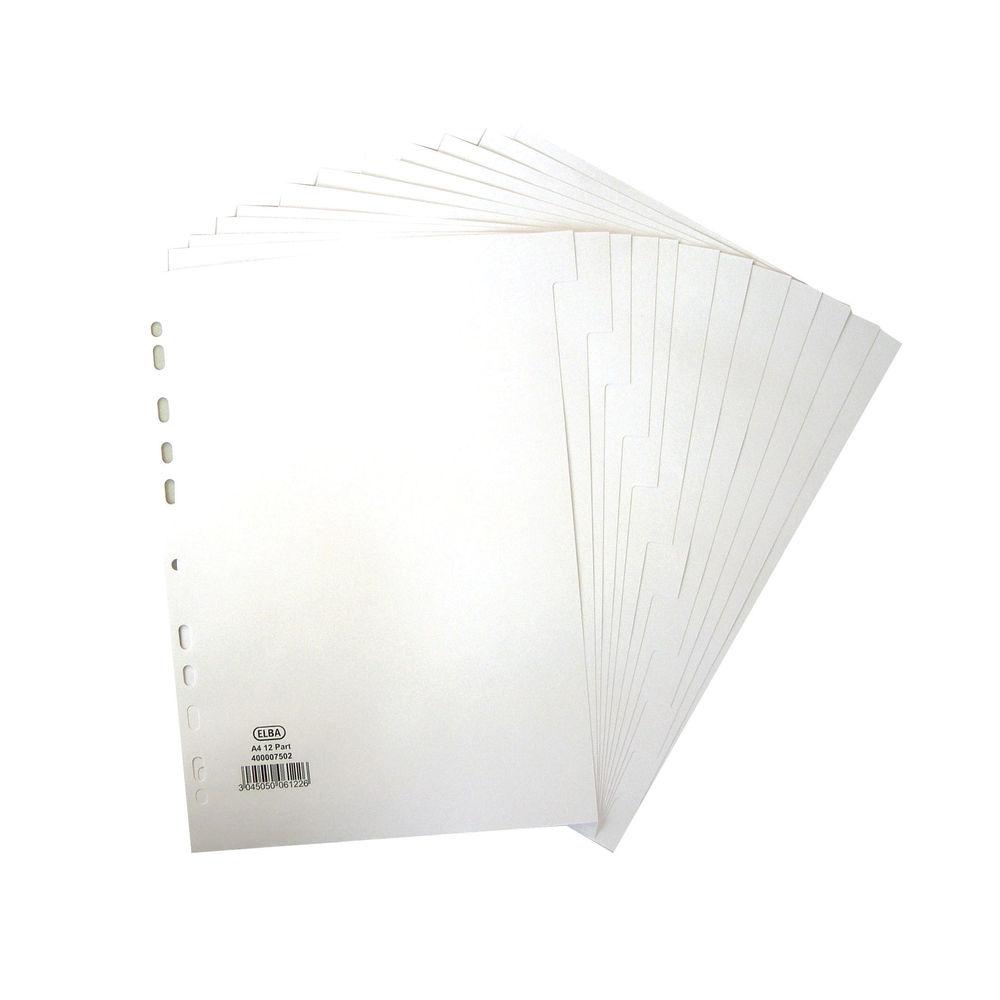 Elba A4 White, Plain Tabs 12 Part Index Divider 160gsm - 400007502