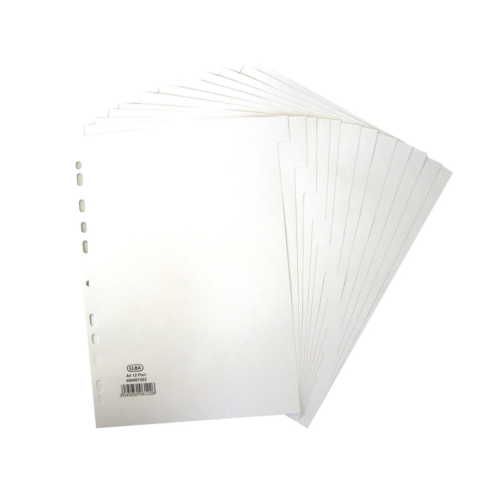Elba 12-Part Divider 160gsm Multipunched A4 White 400007502