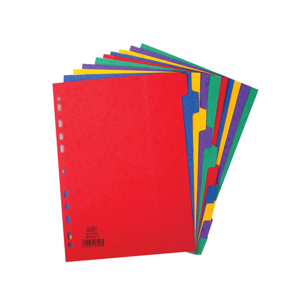Elba A4 Assorted Colours, Plain Tabs 10 Part Index Dividers - 400007513
