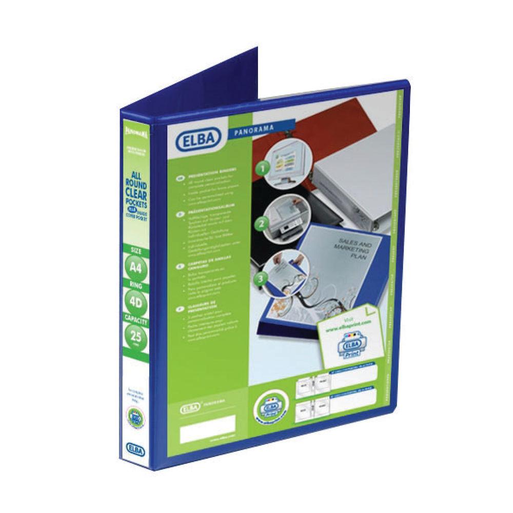 Elba Panorama 25mm 4 D-Ring Presentation Binder A4 Blue (6