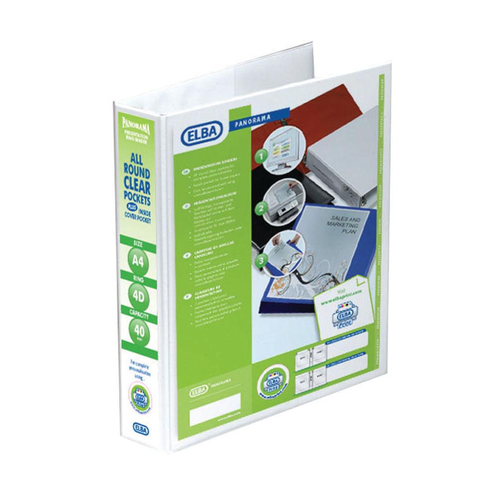 Elba Panorama White A4 Presentation 4 D-Ring Binder, 40mm - 400008419