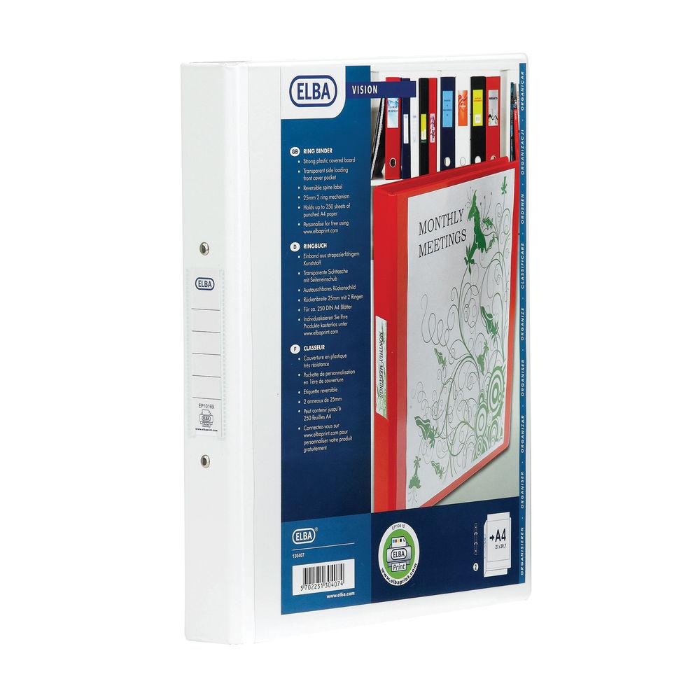Elba Vision 25mm 4 O-Ring Binder PVC A4 White 100080879