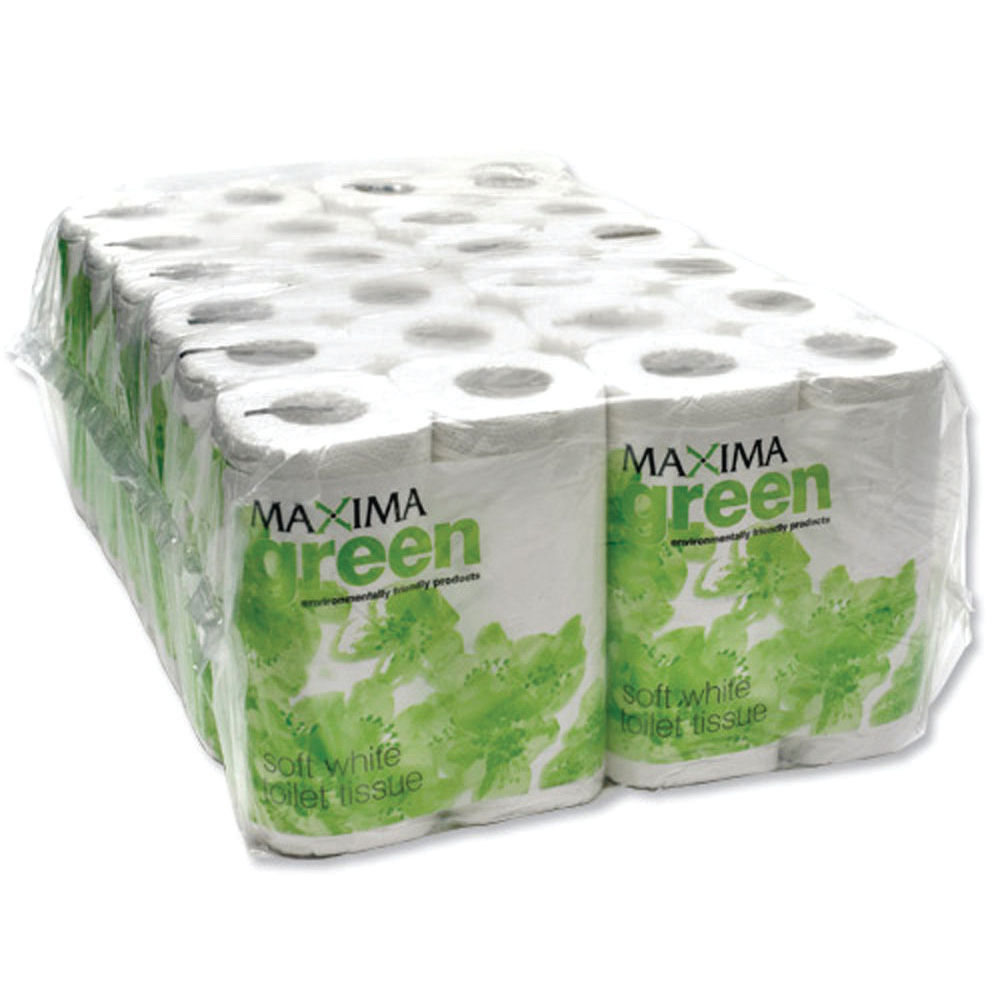 Maxima Green 2-Ply White Toilet Rolls, Pack of 48 - KMAX200G