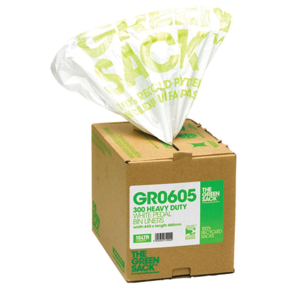 The Green Sack Pedal Bin Liner in Dispenser White (Pack of 300) VHP GR0605