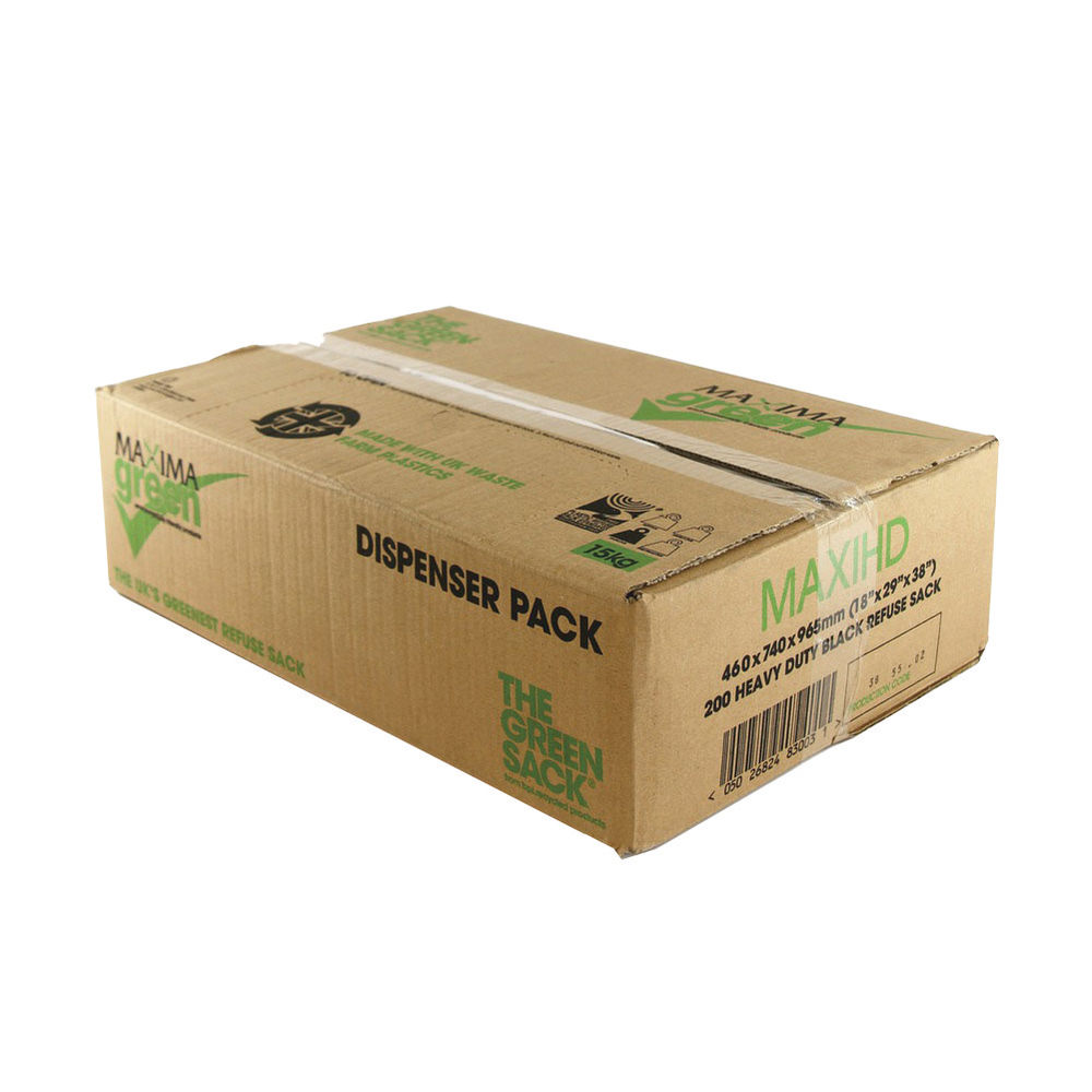 The Green Sack Black 80L Heavy Duty Refuse Sack, Pack of 200 - KMAXHD