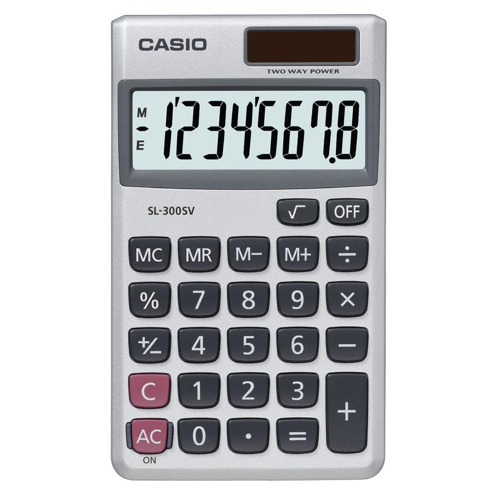 Casio SL-300V Pocket Calculator, 8 Digit Display - SL-300V-S-GH