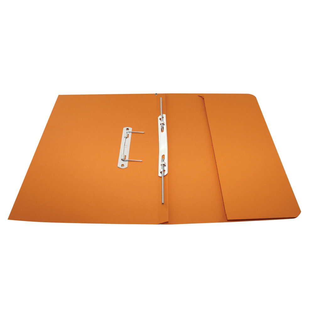 Rexel Jiffex Foolscap Orange Transfer File with Pocket 315gsm, 25 Pack - 43316