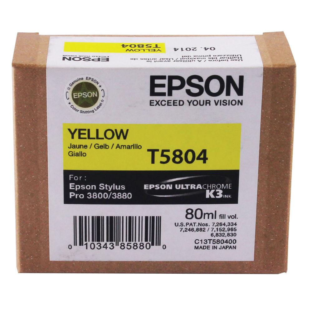 Epson T5804 Yellow Inkjet Cartridge C13T580400 / T5804