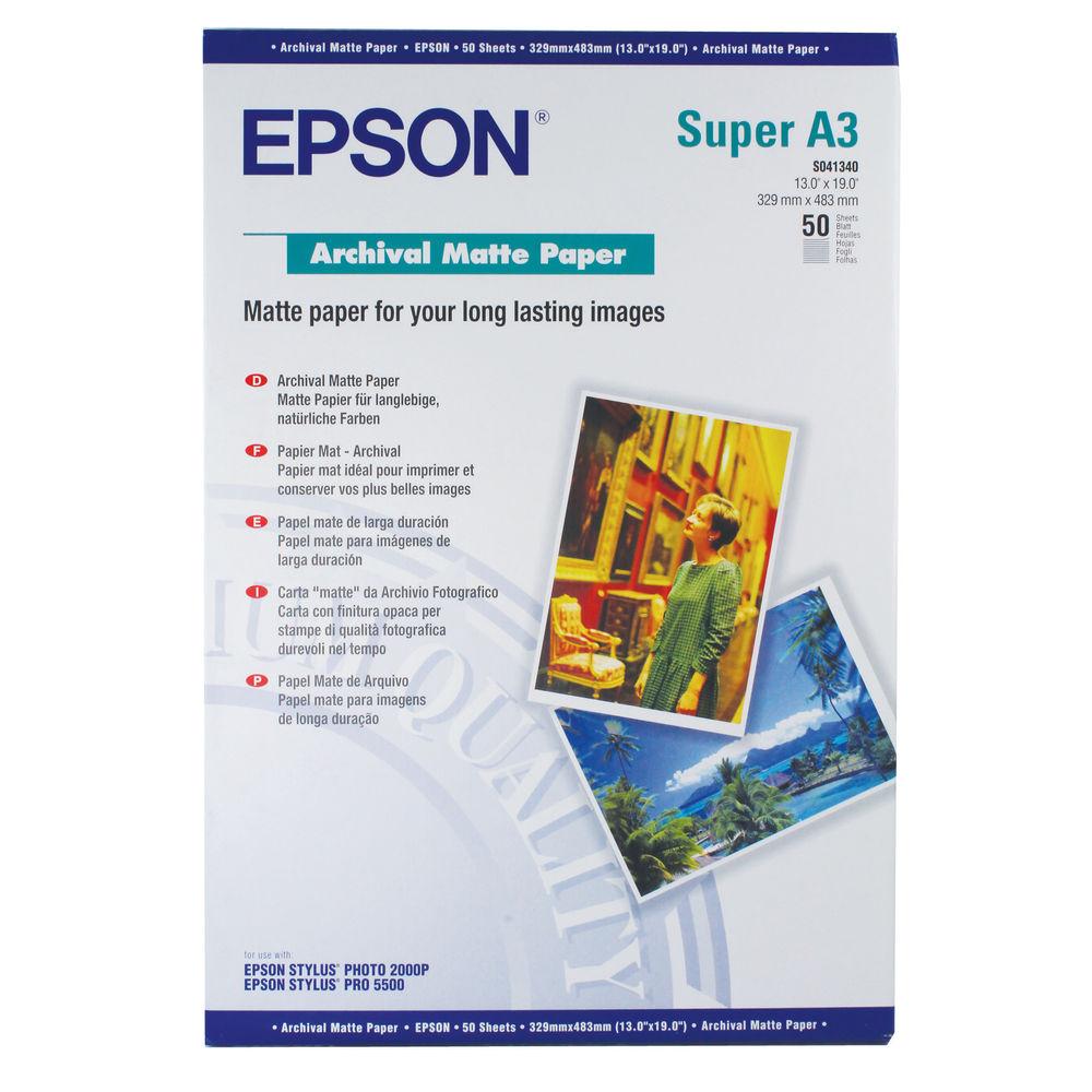 Epson White A3+ Matte Photo Paper 192gsm - 50 Sheets - C13S041340