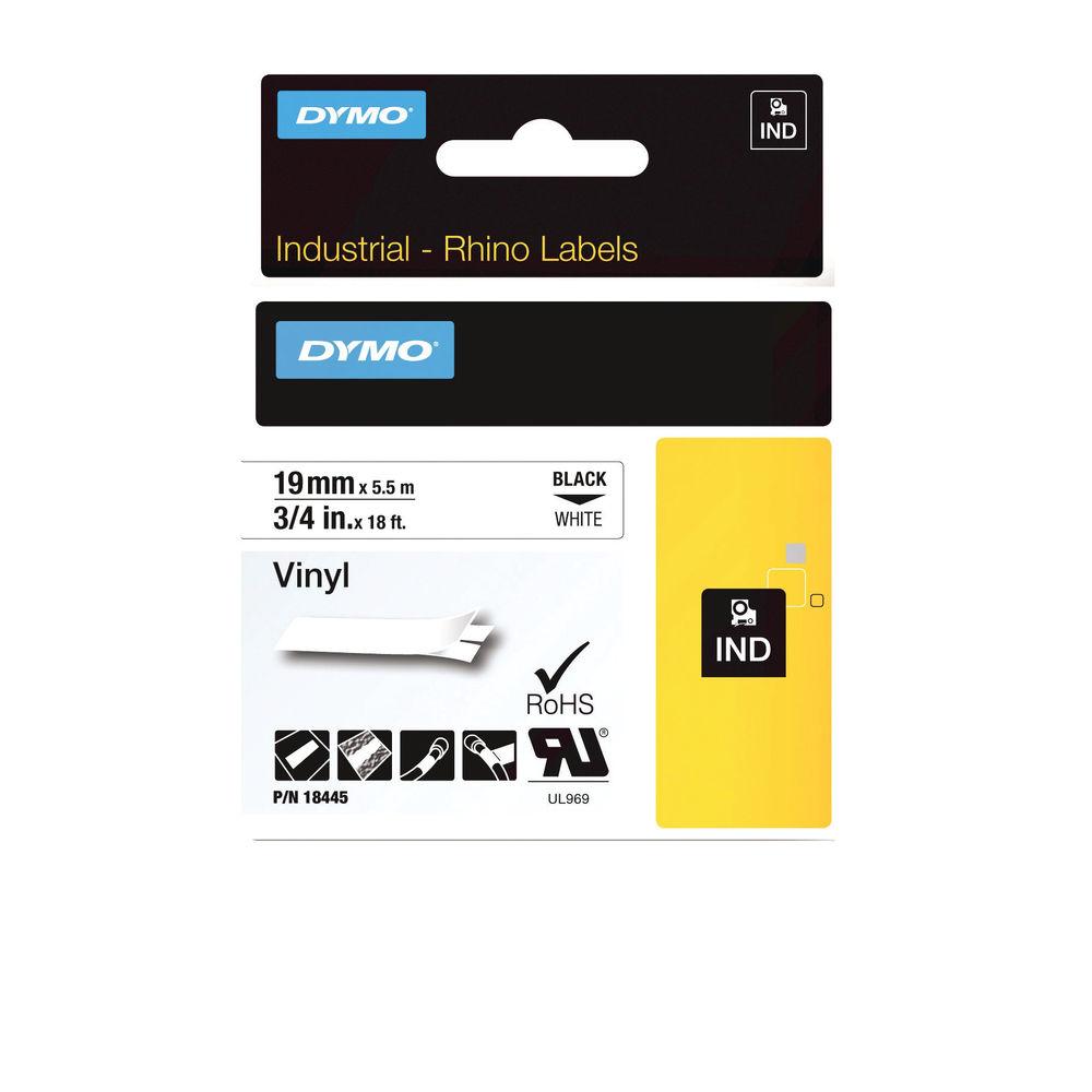 Dymo Vinyl Tape 19mm Black on White - 18445