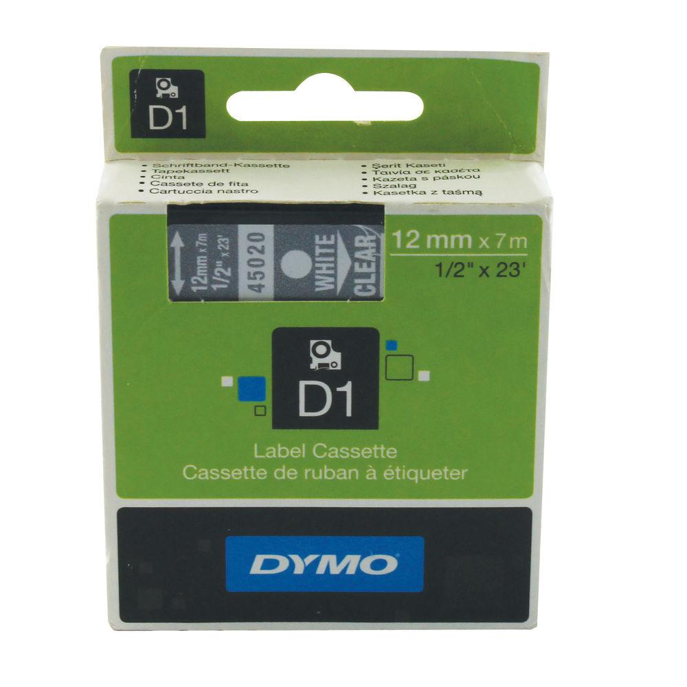 Dymo D1 Standard Label Tape White on Transparent - 45020