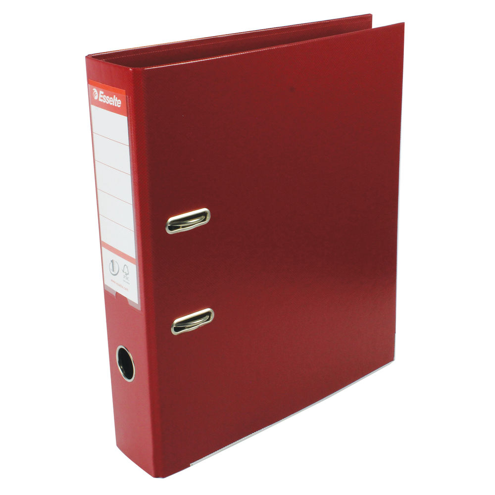 Esselte No.1 Power A4 Burgundy Lever Arch Files, 75mm  - Pack of 10 - 48069