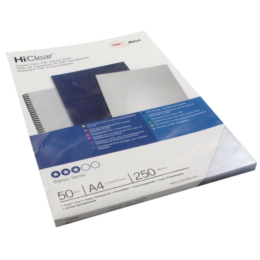 GBC Super Clear PVC Covers 250 Micron, Pack of 50 - 41606U