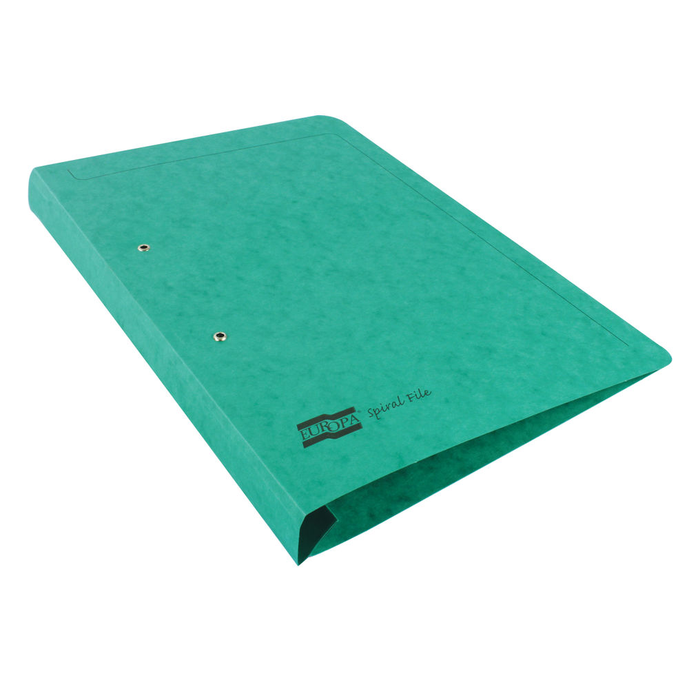 Europa Green A4/Foolscap Spiral Files - Pack of 25 - 3003