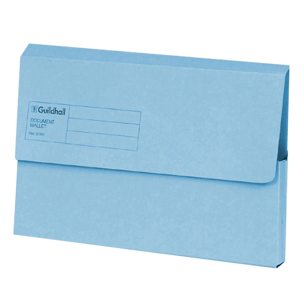 Exacompta Guildhall Document Wallet Foolscap Blue (50 Pack