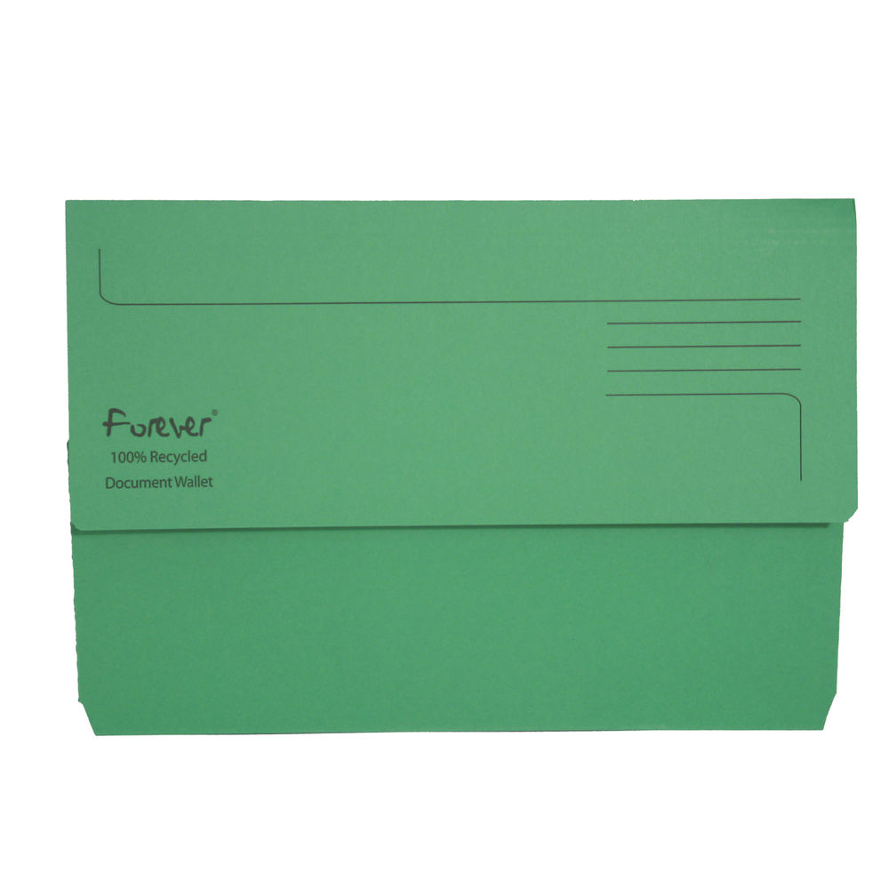 Forever Foolscap Bright Green Document Wallet 300gsm - Pack of 25 - GH22886