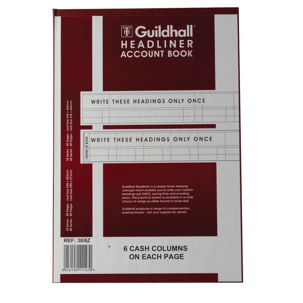 Guildhall 38 Series Headliner Book, 6 Cash Columns - 1147