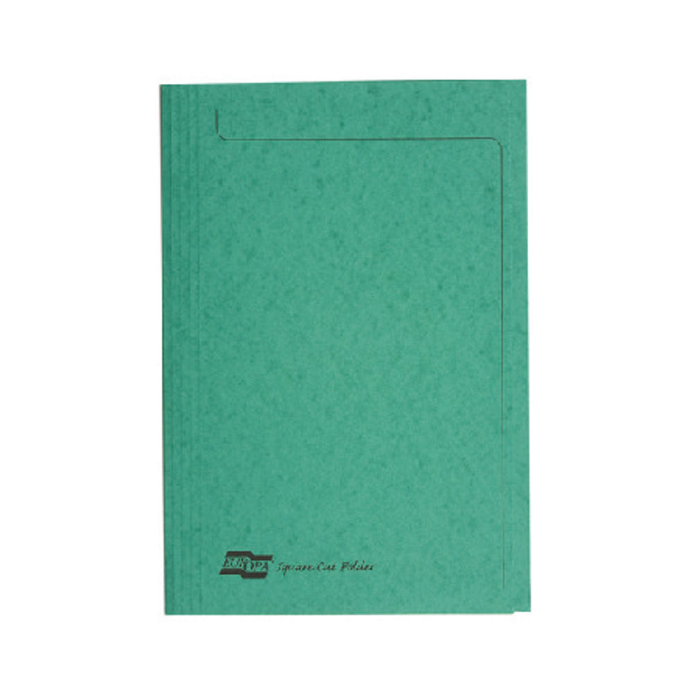 Europa Foolscap Green Square Cut Folders 300gsm - Pack of 50 - 4823