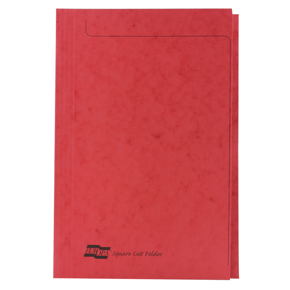 Europa Red Foolscap Square Cut Folders 300gsm - Pack of 50 - 4828