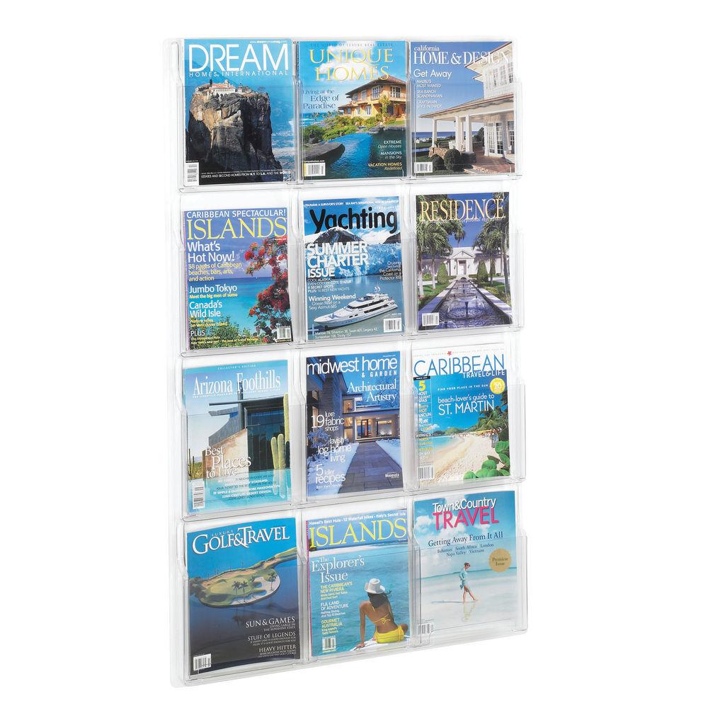 Safco 12 Pocket Deluxe Pamphlet Literature Rack - 5602CL