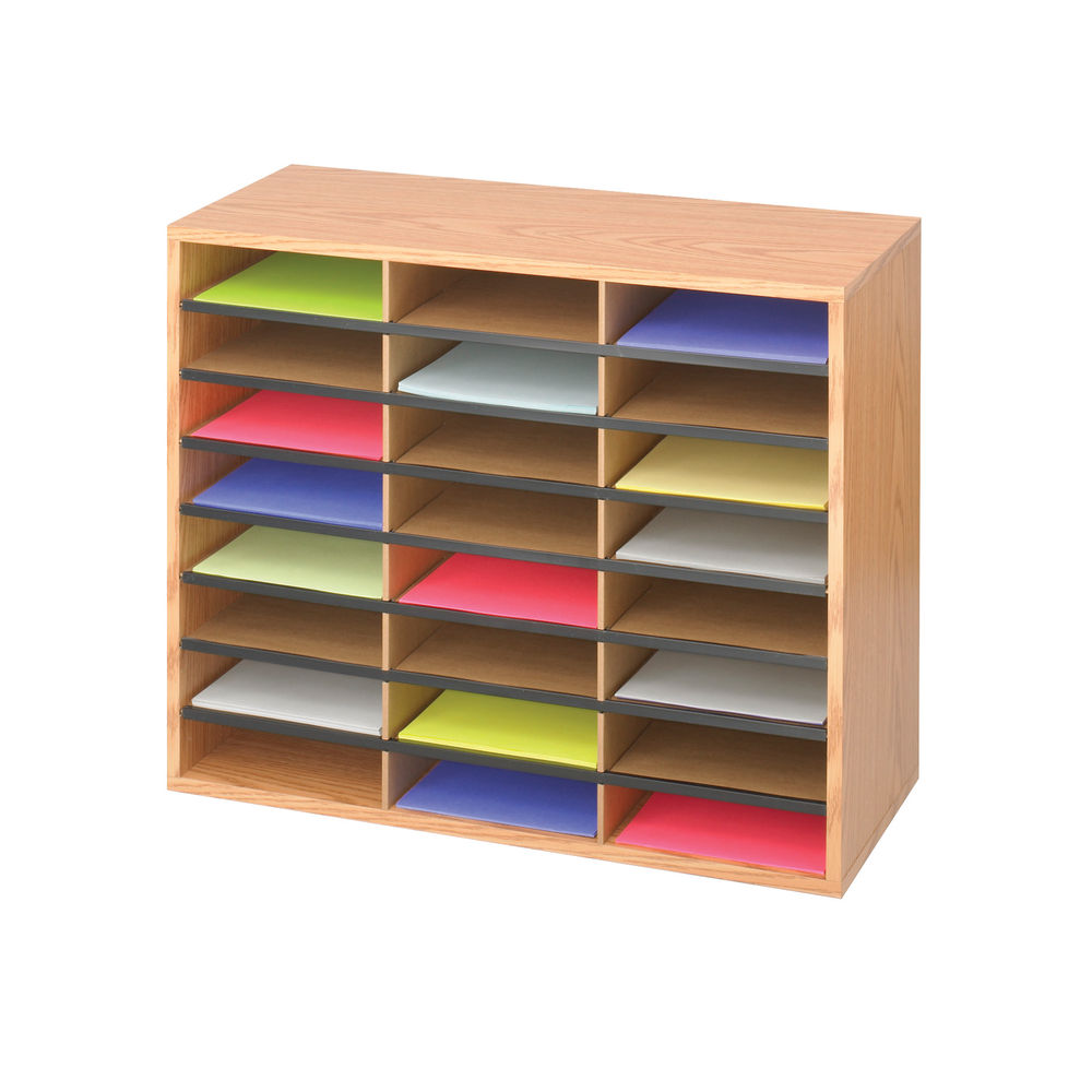 Safco 24 Compartment Oak Literature Organiser, W737 x D305 x H597mm - 9402MO