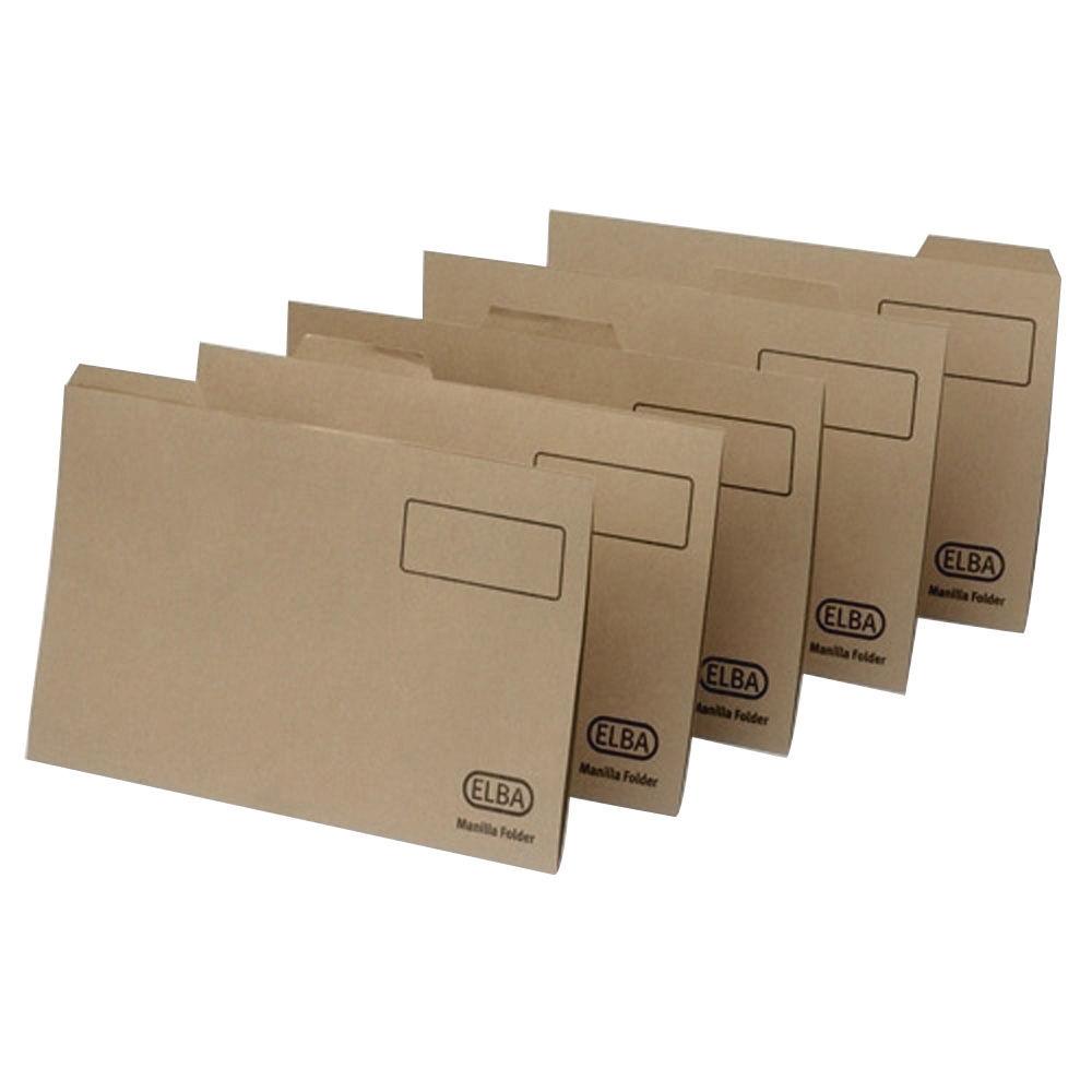Elba Tabbed Midweight Buff Foolscap Folders 290gsm - Pack of 100 - 20612
