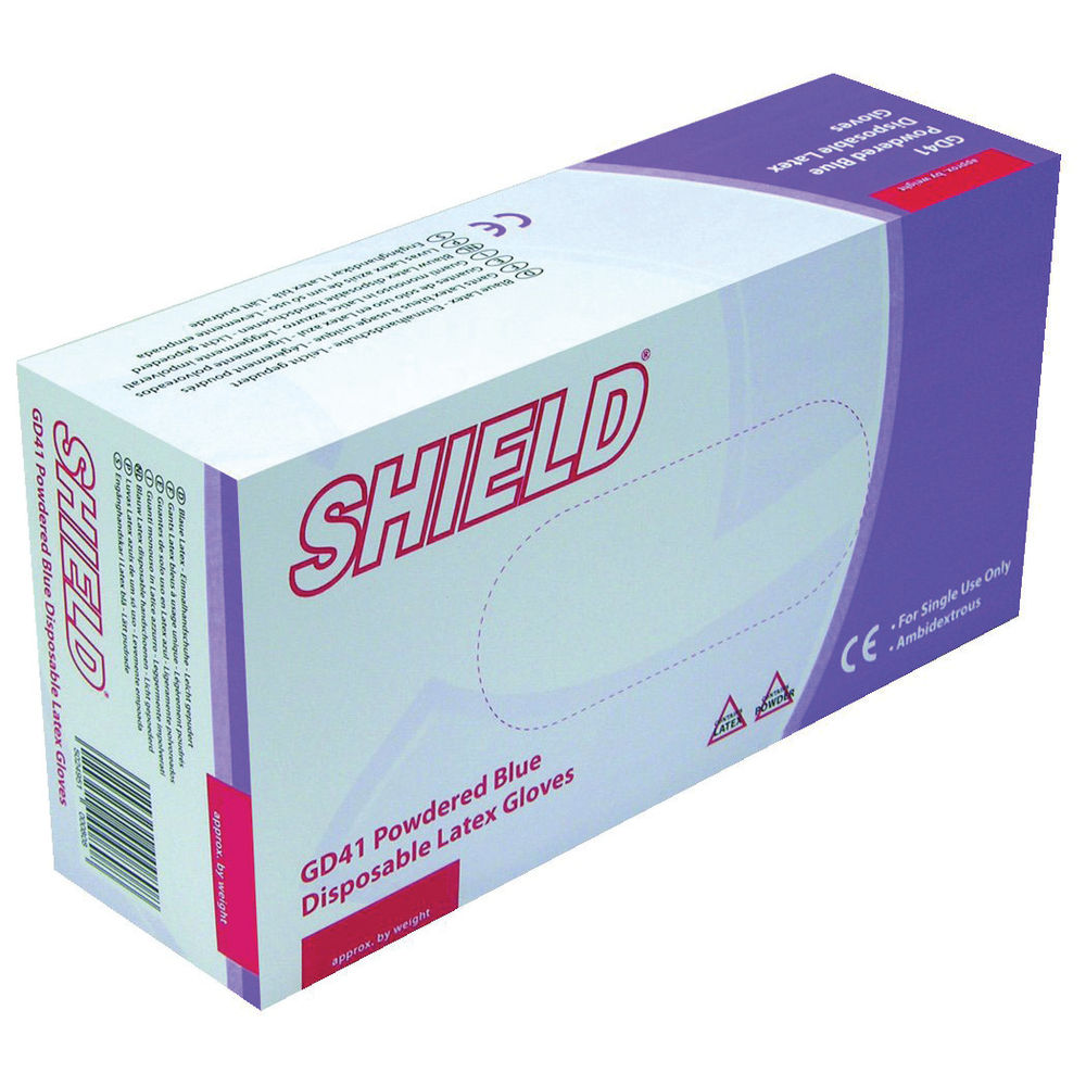 Shield Powdered Blue Large Latex Gloves (Pack of 100) GD41