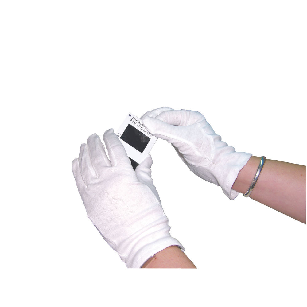 Medium White Knitted Cotton Gloves, Pack of 20 - GI/NCWO