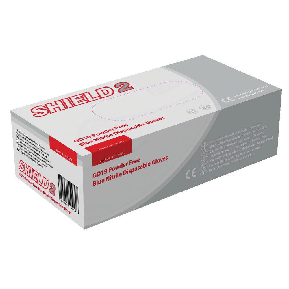 Shield Powder-Free Nitrile Blue Gloves Medium, Pack of 100 - GD19