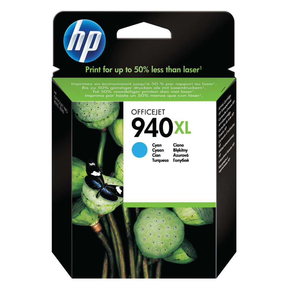 HP 940XL High Yield Cyan Inkjet Print Cartridge C4907AE