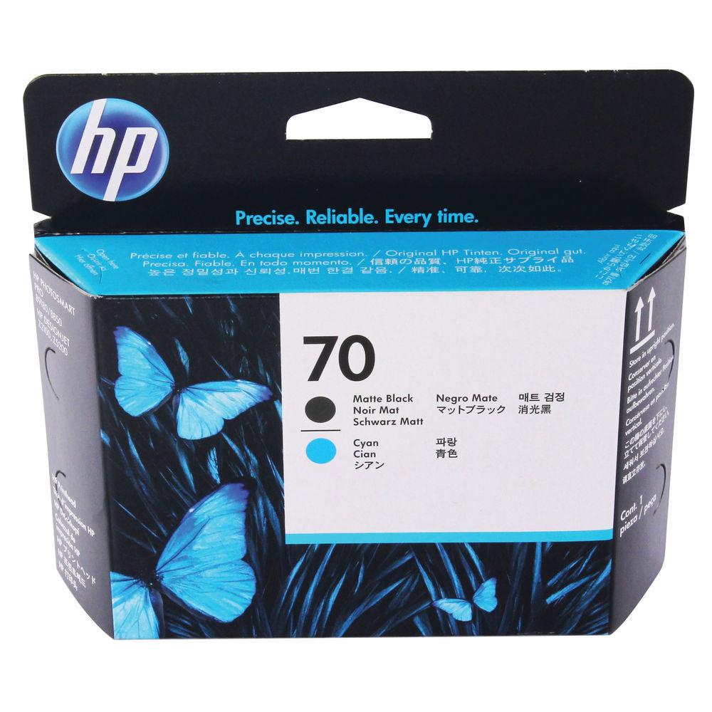 HP 70 Matte Black/Cyan Printhead (Pack of 2) C9404A