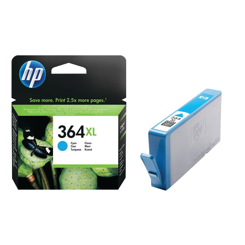 HP 364XL High Yield Cyan Inkjet Cartridge (750 Page Capacity) CB323EE