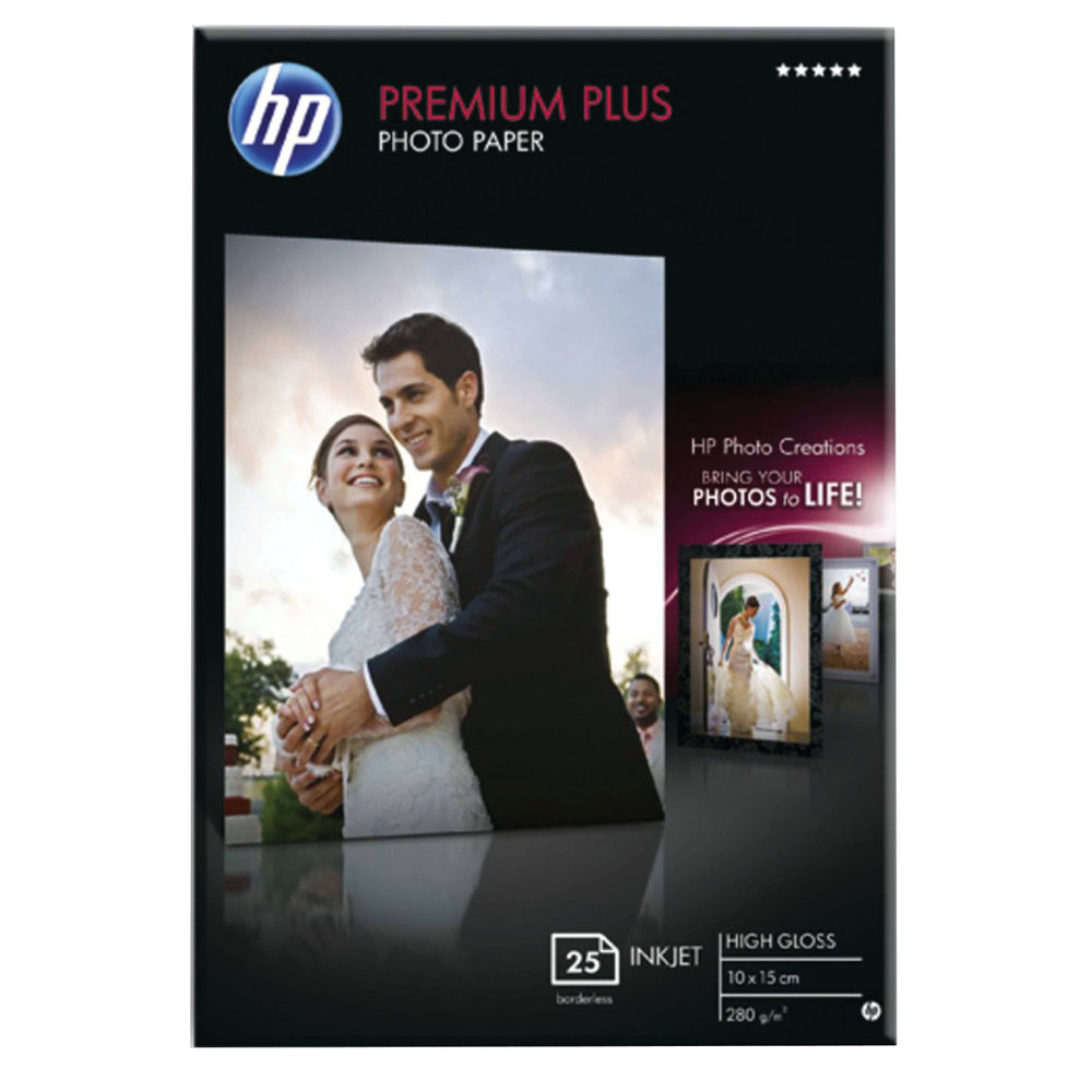 HP Premium Plus 100 x 125mm White Glossy Paper, 300gsm - 25 Sheets - CR677A