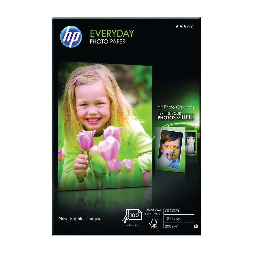 HP Everyday 100 x 150mm White Glossy Paper, 200gsm - 25 Sheets - CR757A