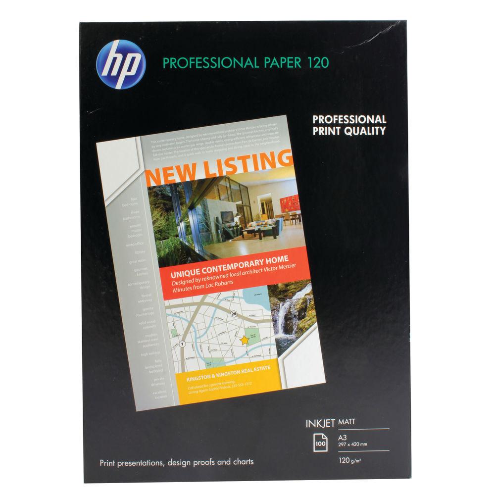 HP Professional Matte White A3 Paper 120gsm, 100 Sheets - Q6594A